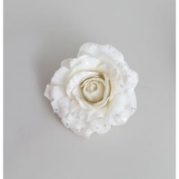 15cm velvet rose w clip cream