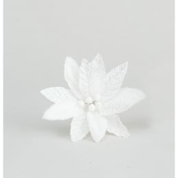 25cm fabric glitter poinsettia white
