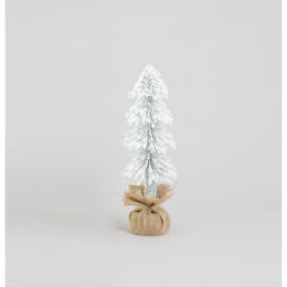 Flocked tree w burlap ornaments 50cm
