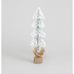 Flocked tree w burlap ornament 60cm