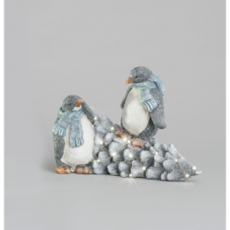 Penguin fallen tree led ornament 43cm